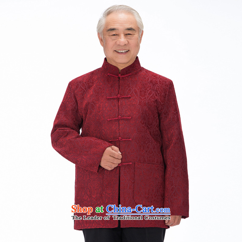 Bosnia and the elderly in the line thre flock stamp autumn and winter jackets father load Tang upscale male Tang dynasty sheikhs wind long-sleeved jacket Tang Chinese Package Mail?F735_ Red straight-sleeved?XXL_185