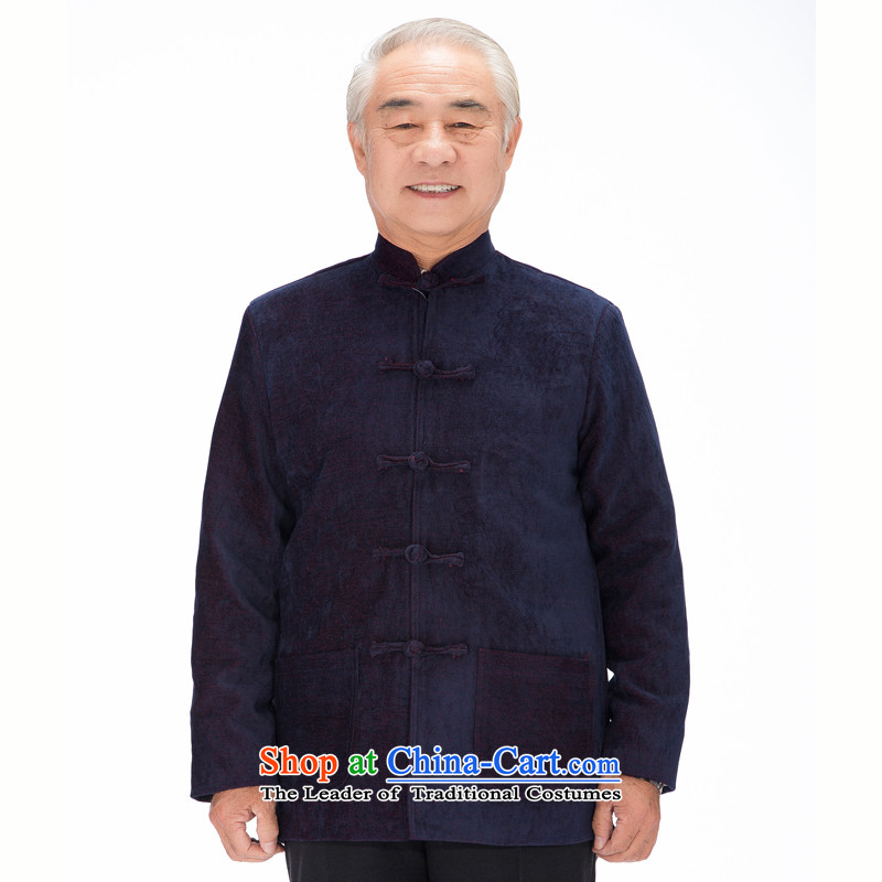 Thre line autumn and winter and new national China wind collar long-sleeved men fall and winter Chinese rom 6-21 jacket in Tang Dynasty older燜 Suet Yee Jenny燲XXL_190 blue