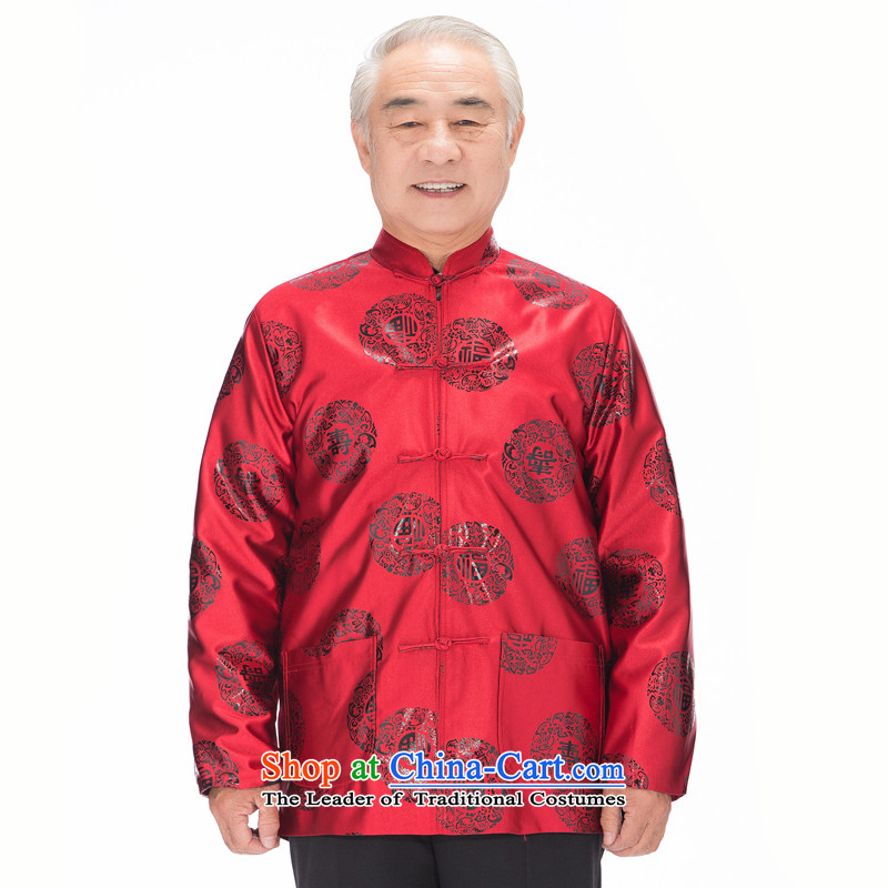 Bosnia and the spring and autumn new line thre glossy fu shou in this life, older coat of older persons in the men's fu shou stamp Tang dynasty Long-sleeve father red� XXXL_190