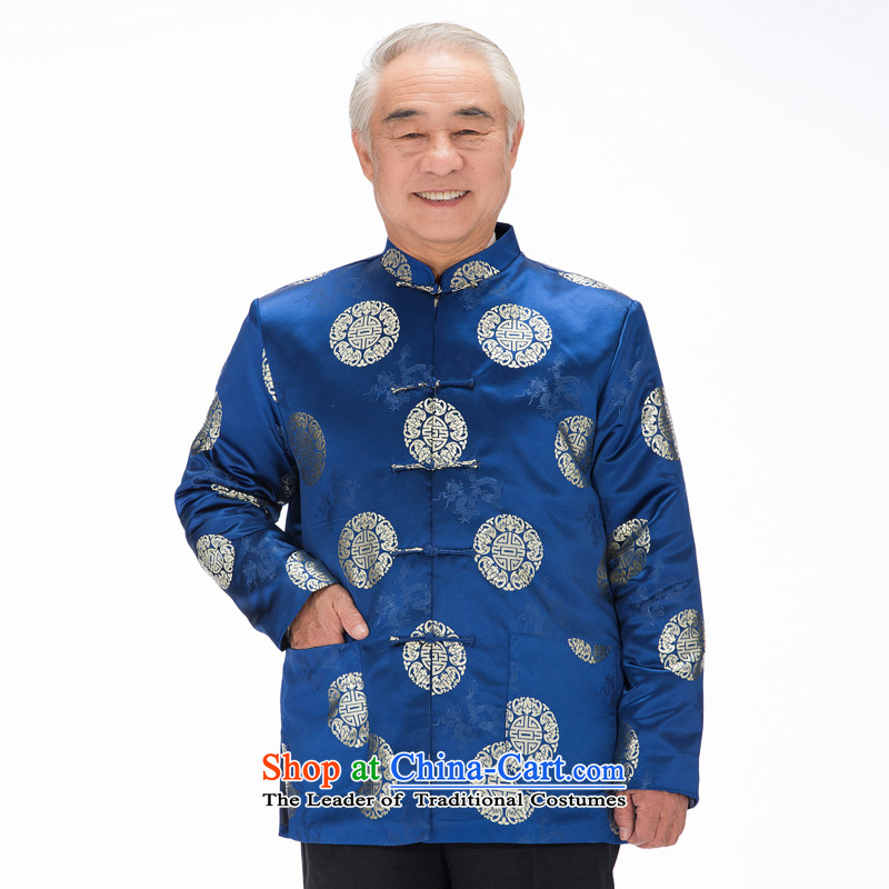 Bosnia and the elderly in the long line thre grain pattern Tang dynasty men jacket Fall/Winter Collections of Grandpa replacing old jacket coat men tapestries forged F0757 blue cotton XL/180