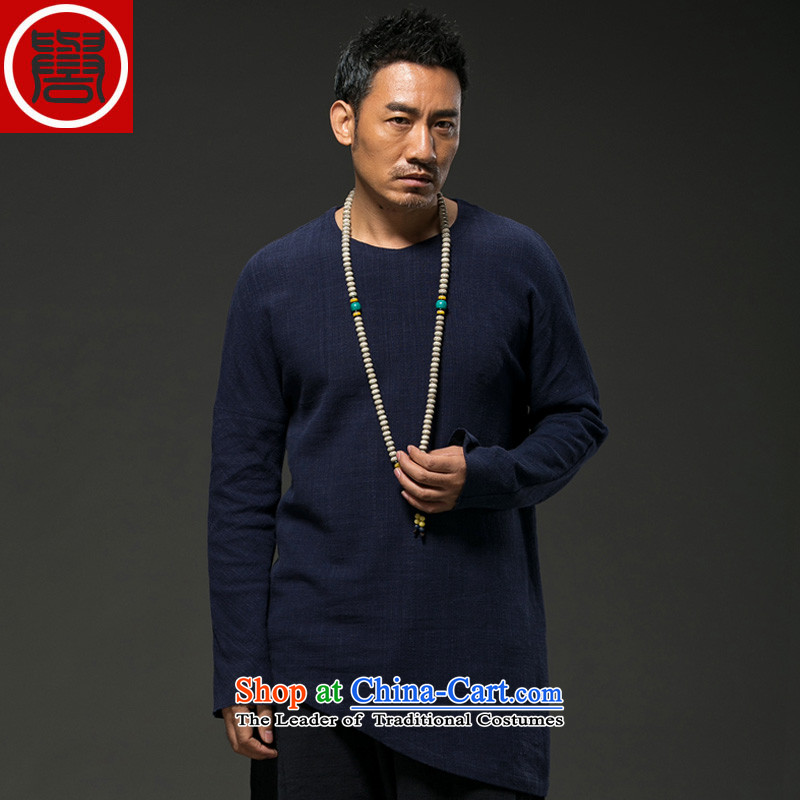 Renowned China wind spring and autumn_ Men linen long-sleeved loose Chinese men spring and fall Tang dynasty blue T-shirt, _XXXL_ male