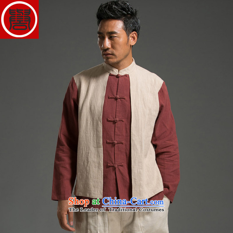 Renowned Chinese Wind leave two Sau San Men long-sleeved shirt with flax spell color autumn tray clip mock red and white large XL