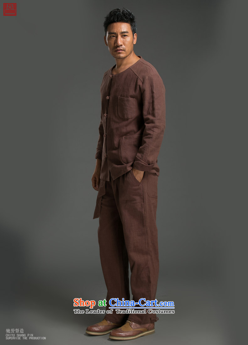 Renowned China wind ma disk load autumn shirt clip New retro men's Sau San ethnic linen long-sleeved shirt wine red in the image (L), prices, brand platters! The elections are supplied in the national character of distribution, so action, buy now enjoy more preferential! As soon as possible.