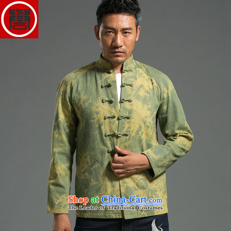 The 2014 autumn renowned new Ma Tang dynasty men's leisure China wind long-sleeved clothing middle-aged men and shallow national large XL