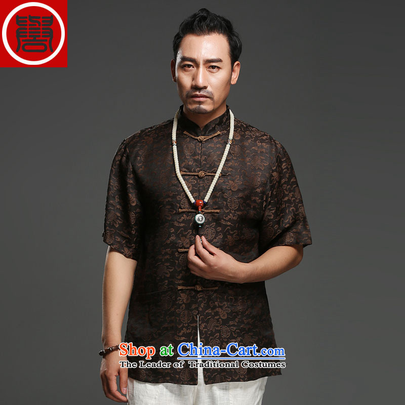 Renowned men Summer Scent of silk yarn in the cloud of older men Tang Dynasty Short-Sleeve Men National Leisure Tang Dynasty Father's Day Black Large (175), renowned (CHIYU) , , , shopping on the Internet