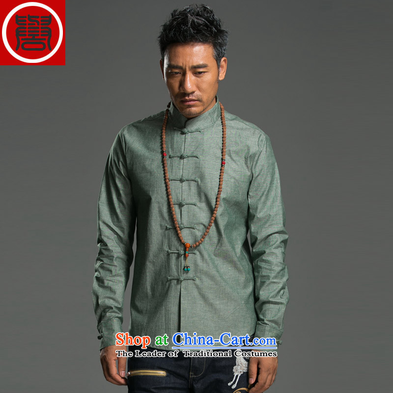 Renowned 2015 China wind spring and autumn men Chinese cotton linen Sau San disk tie china Mock-Neck Shirt linen pure color improved Tang dynasty large green (L)