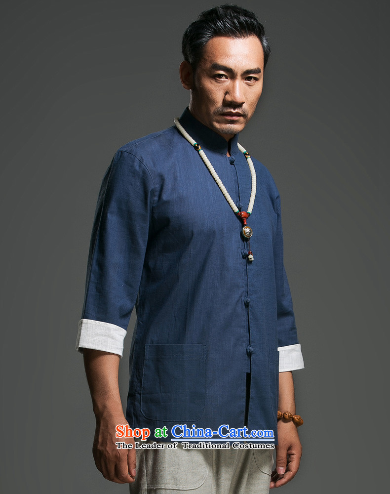 In the renowned older men Tang dynasty pure cotton tray clip collar seven Chinese shirt-sleeves traditional Han-men's clothes in dark blue Chinese (170)Picture, prices, brand platters! The elections are supplied in the national character of distribution, so action, buy now enjoy more preferential! As soon as possible.