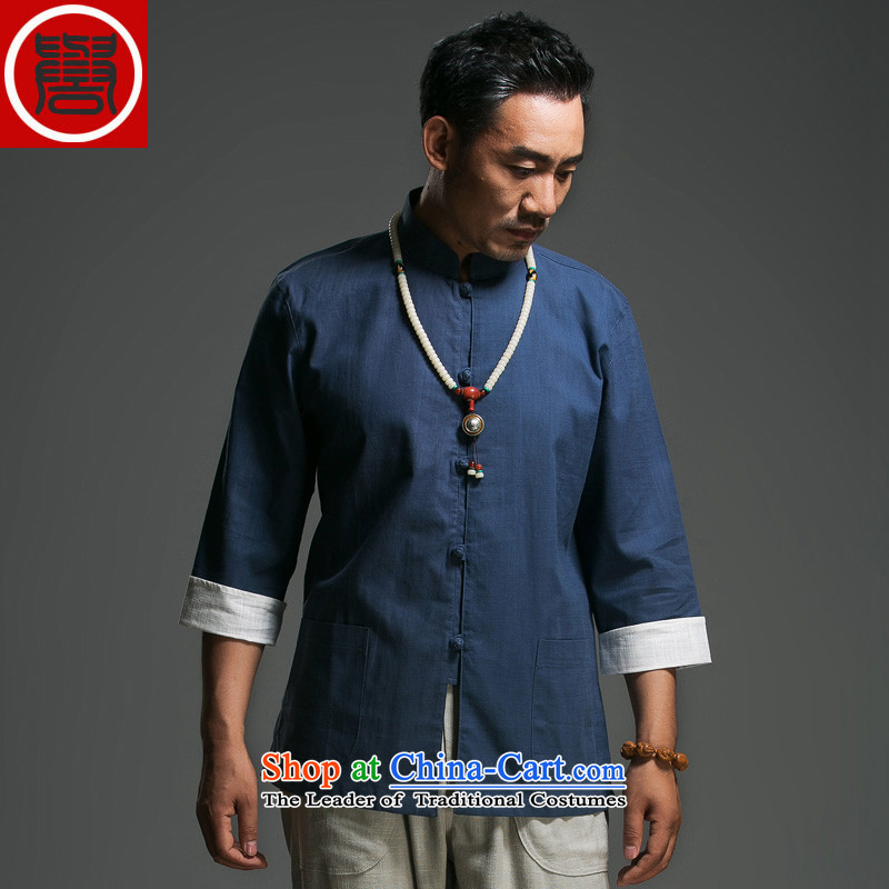 In the renowned older men Tang dynasty pure cotton tray clip collar seven Chinese shirt-sleeves traditional Han-men's clothes in dark blue Chinese (170)
