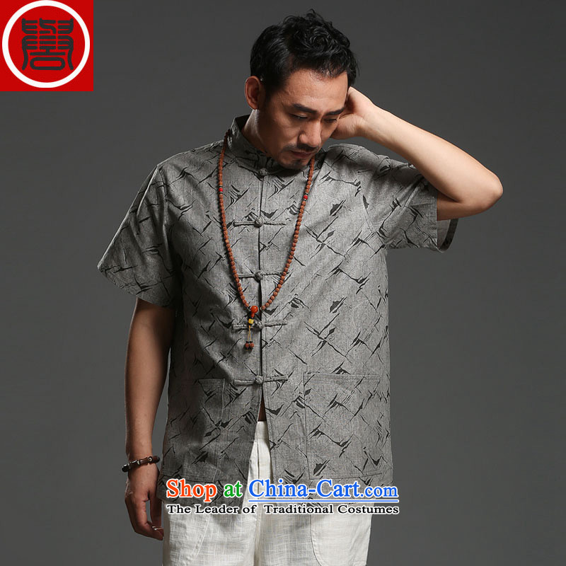 Renowned Tang dynasty men cotton linen collar short-sleeved shirt loose stamp Recreation Fashion Chinese men carbon (185)Where the movement