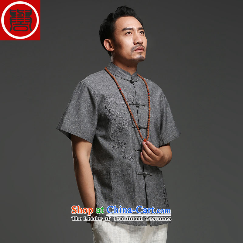 Renowned Tang replacing men short-sleeved cotton linen 2014 new dragon design Tang dynasty summer breathable T-shirt, dark gray (170)in national costumes