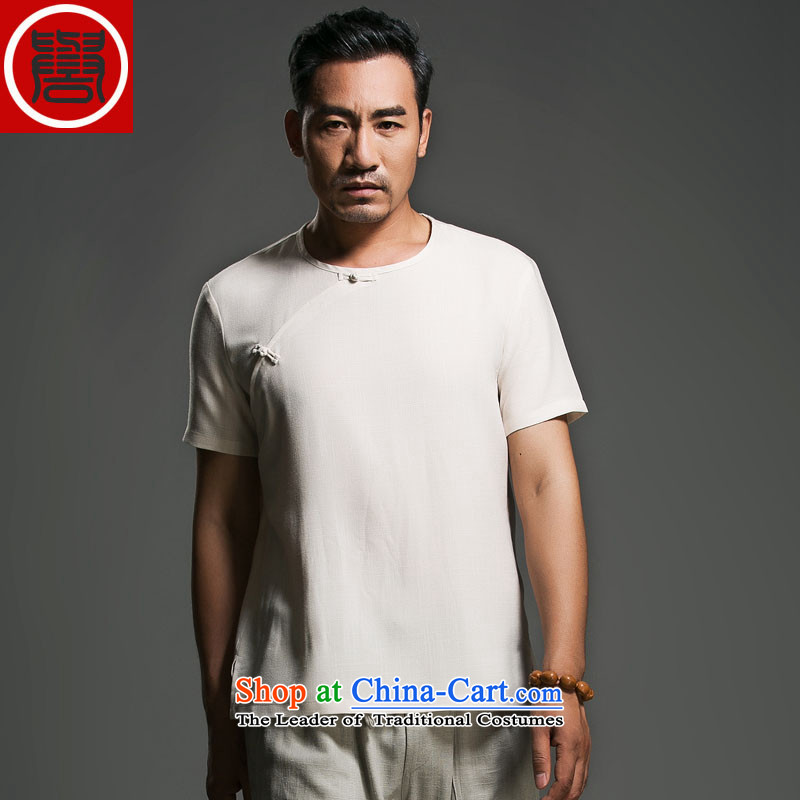 Free trial through China wind men's summer linen disc detained round-neck collar short-sleeved swashplate detained Korean male personality in beige _L_