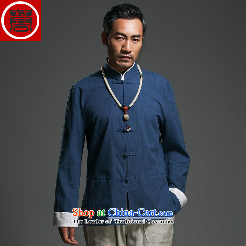 The fall of the renowned linen Solid Color Tang dynasty long-sleeved loose China wind men's jackets and disc buttoned, ethnic dark blue Large _175_