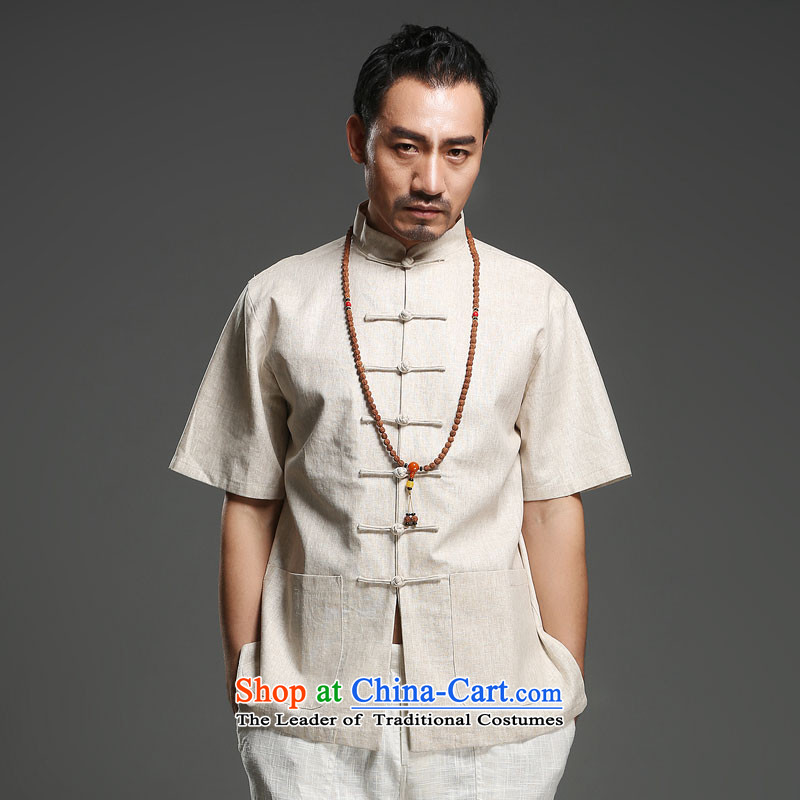 Renowned China wind men cotton linen short-sleeved Tang dynasty improved Tang Dynasty Chinese men of pure colors of ethnic summer blouses m yellow giant (180)
