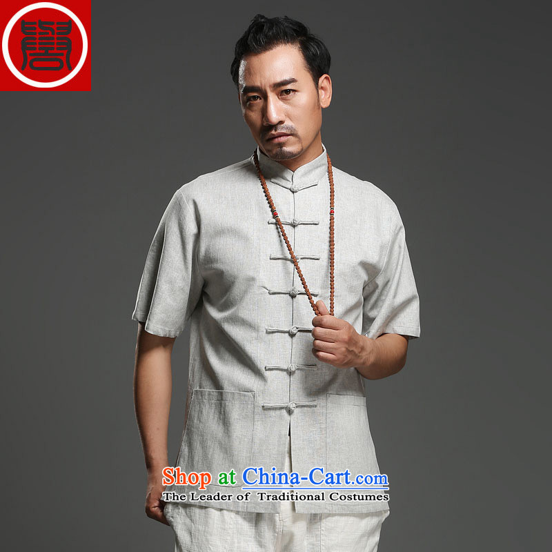 Renowned China wind men cotton linen short-sleeved Tang dynasty improved Tang Dynasty Chinese men of pure colors of ethnic summer blouses m yellow giant (180), renowned (CHIYU) , , , shopping on the Internet