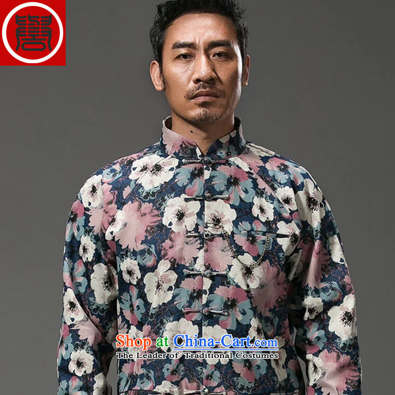 Renowned China wind suit male stylish decorated in stamp Tang long-sleeved collar disc detained during the spring and autumn jacket abounds Chinese improved (3XL) movement