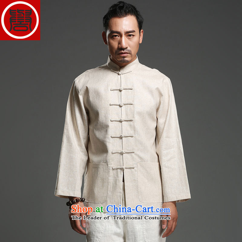 Renowned New China wind load spring and autumn and long-sleeved Chinese Tang dynasty and long-sleeved tray clip Tang dynasty cotton linen coat light yellow large XL
