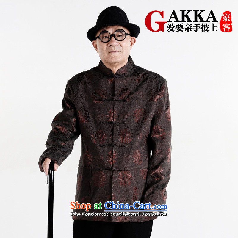The elderly in the Tang dynasty gakka Tang dynasty older men's jackets of older persons and Tang dynasty autumn and winter clothes brown L