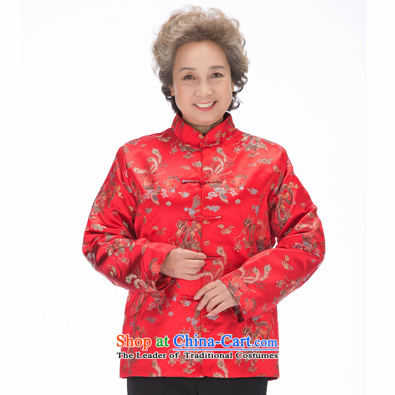 Bosnia and thre older women and men in line with Tang Dynasty ethnic couples wind Chinese dragon and a mock-neck new Tang blouses rushed mother father excellent燜0876爓omen red women L