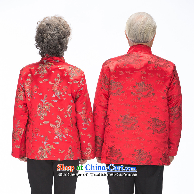 Bosnia and thre older women and men in line with Tang Dynasty ethnic couples wind Chinese dragon and a mock-neck new Tang blouses rushed mother father excellent F0876 women red women, L, and thre gesaxing line () , , , shopping on the Internet