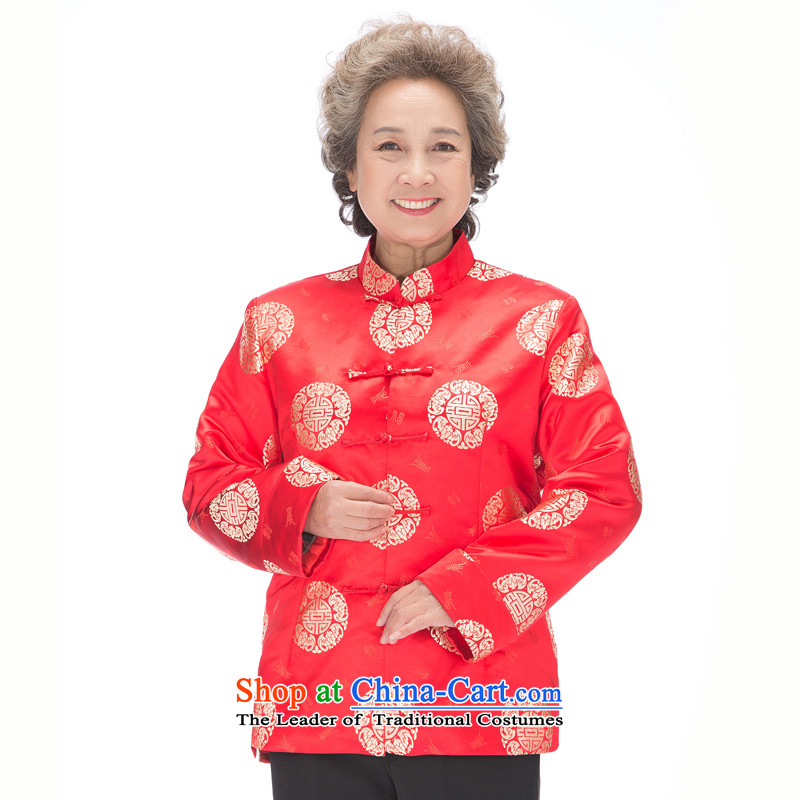 The elderly in the Tang dynasty F0861 men and women's couples Tang blouses autumn and winter elderly golden marriage life too long-sleeved sweater women on a red ground Kim women XL
