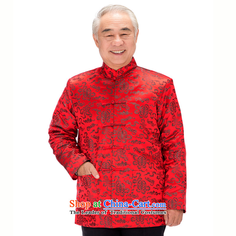 Bosnia and thre line older women and men in Tang Dynasty long-sleeved winter mom and dad couples with golden marriage celebrated men and women's robe Tang blouses jacket燜0781爉en red men M_170