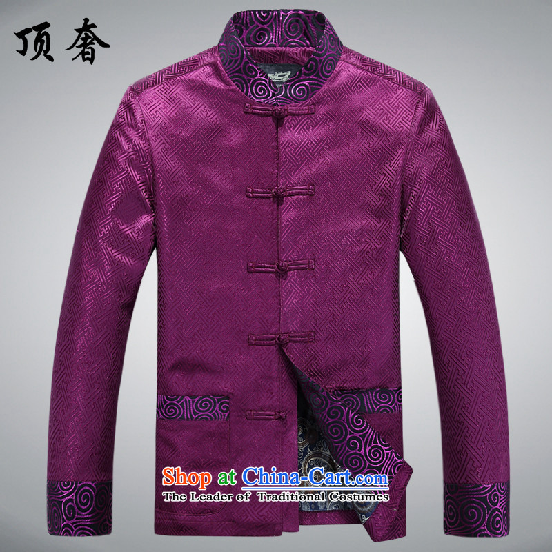 Top Luxury spring and autumn_ jacket coat in men's older men Tang Dynasty Large Golden Grandpa tray clip relaxd long-sleeved Pullover elderly Men's Shirt A88021 jacket, purple men XXL_185