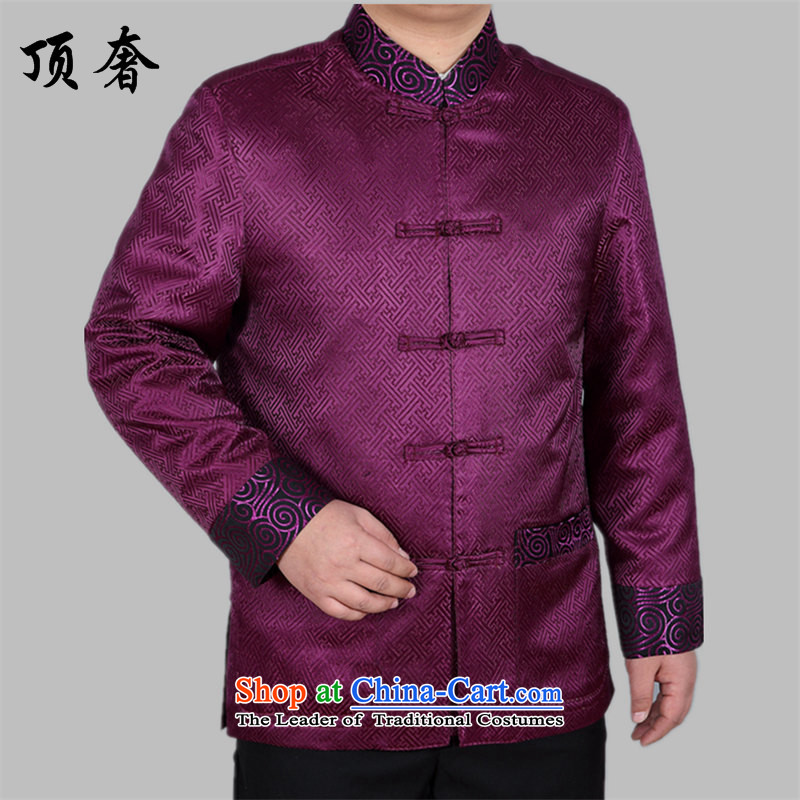 Top Luxury spring and autumn) jacket coat in men's older men Tang Dynasty Large Golden Grandpa tray clip relaxd long-sleeved Pullover elderly Men's Shirt A88021 jacket, purple men XXL/185, top luxury shopping on the Internet has been pressed.