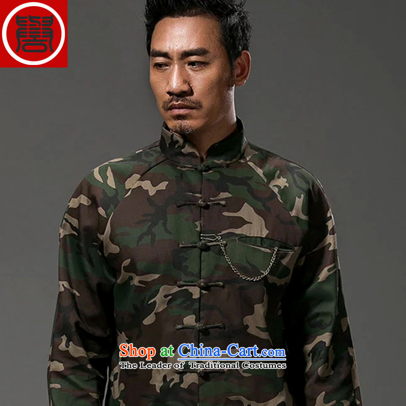 Renowned China wind camouflage Sau San Tong replacing men long-sleeved Chinese cotton linen collar stylish tray clip personality Jacket Color XL