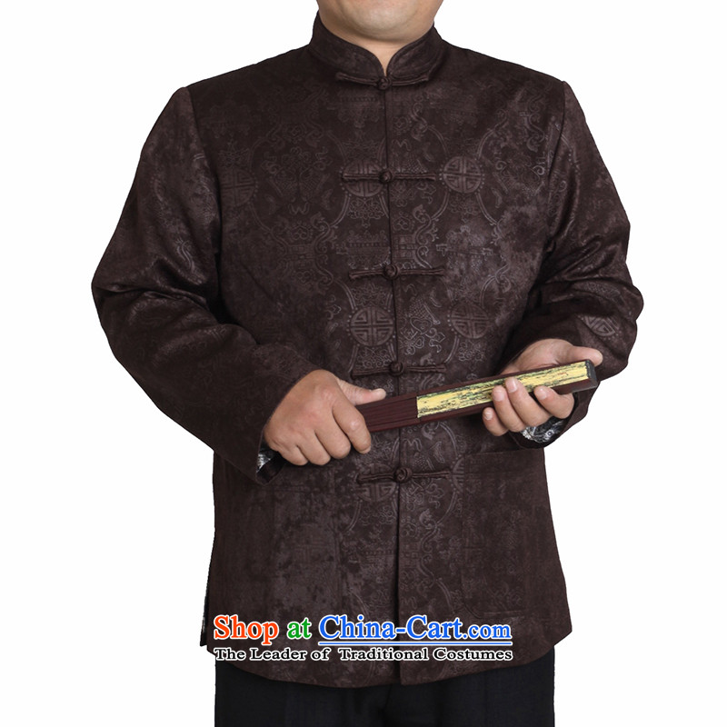 The Cave of the elderly by 2015 Tang dynasty men in autumn and winter elderly men Tang long-sleeved jacket men national costumes Male clip cotton Tang dynasty T1155 T1155_ Brown�0 yards _ clip cotton winter_