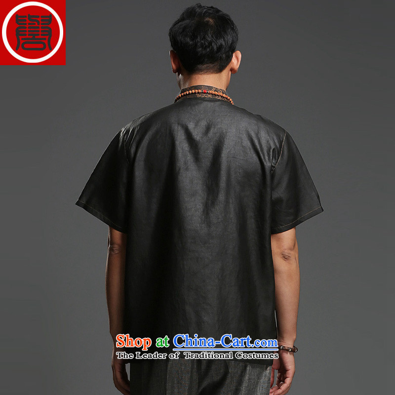 Renowned men silk short-sleeved Tang Dynasty Chinese shirt Men's Shirt herbs extract cloud of incense yarn men's short-sleeved black Large Tang dynasty 175 renowned (CHIYU) , , , shopping on the Internet
