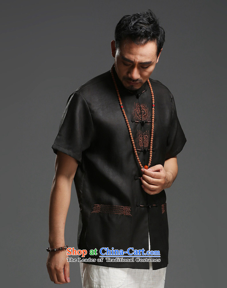 Father's Day men renowned Tang Dynasty silk incense cloud men's yarn short-sleeved T-shirt Chinese Men's Mock-Neck Summer Pack Black Movement 185 pictures, prices, brand platters! The elections are supplied in the national character of distribution, so action, buy now enjoy more preferential! As soon as possible.