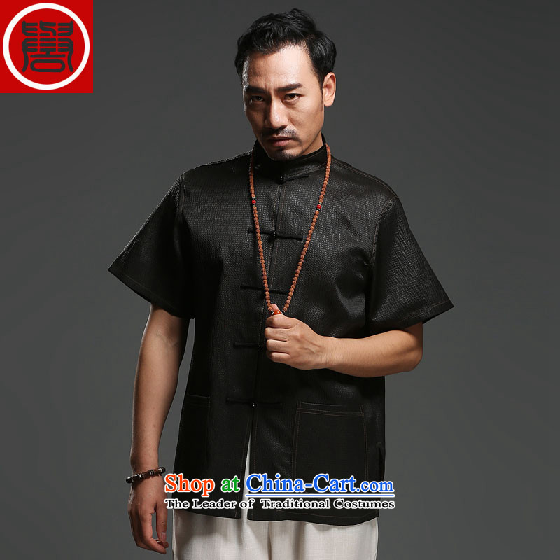 Renowned herbs extract of ethnic Chinese in the number of older men on the silk-short-sleeved T-shirt of cloud silk Tang-pack Black聽180, renowned (CHIYU) , , , shopping on the Internet