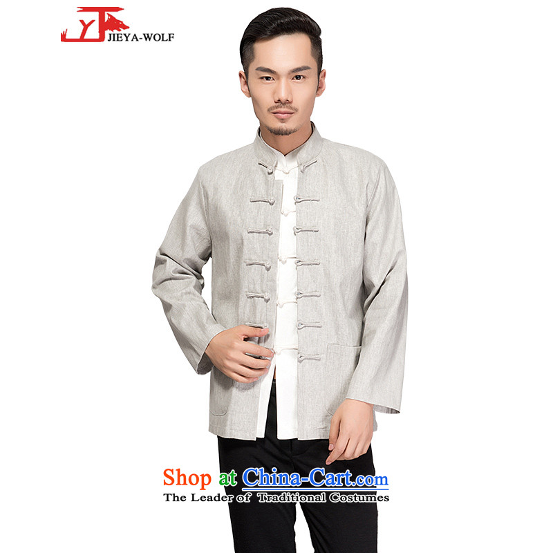 - Wolf JIEYA-WOLF2015, New Tang dynasty men's long-sleeved sweater Stylish spring and autumn Tai Chi_ national costumes light gray single layer聽170_M Chun