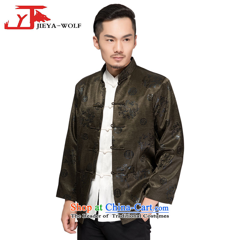 - Wolf JIEYA-WOLF, New Tang dynasty Long-sleeve autumn and winter coats blouses men t-shirt, jacket and dark green cotton�5_XXL Folder
