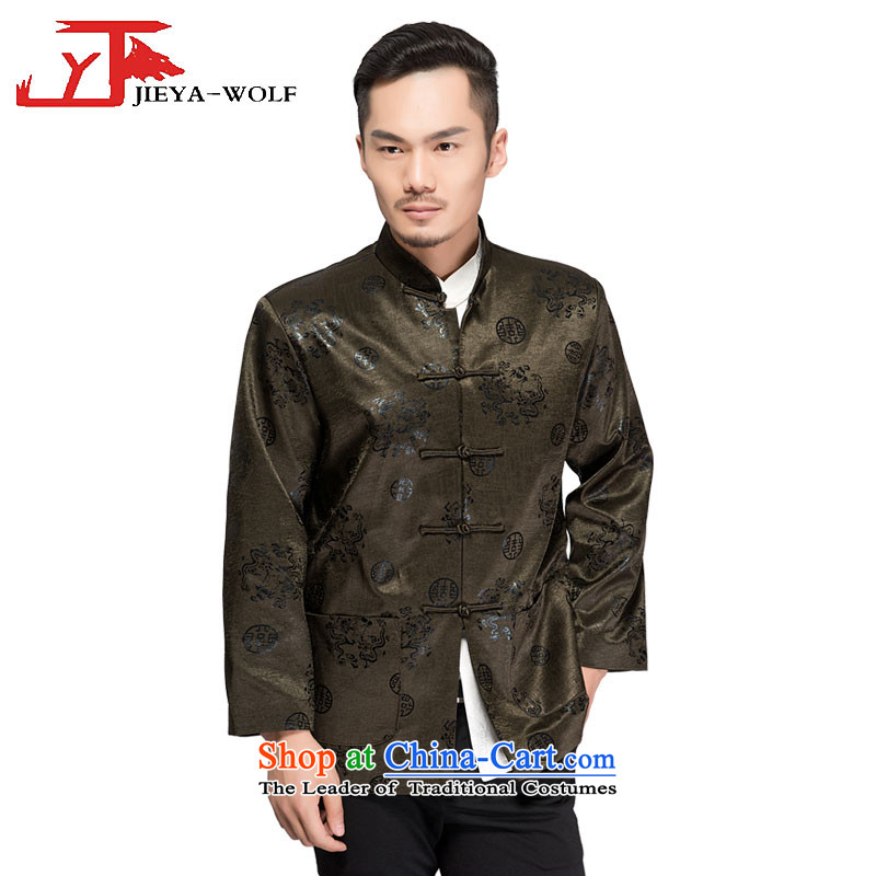 - Wolf JIEYA-WOLF, New Tang dynasty Long-sleeve autumn and winter coats blouses men t-shirt, jacket and dark green clip cotton聽185/XXL,JIEYA-WOLF,,, shopping on the Internet