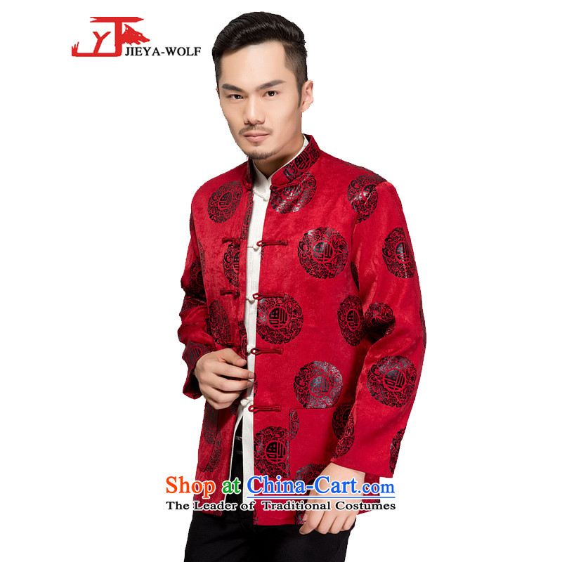 - Wolf JIEYA-WOLF, New Tang dynasty Long-sleeve autumn and winter coats blouses Men's Shirt men stylish jacket, red clip cotton?165/S