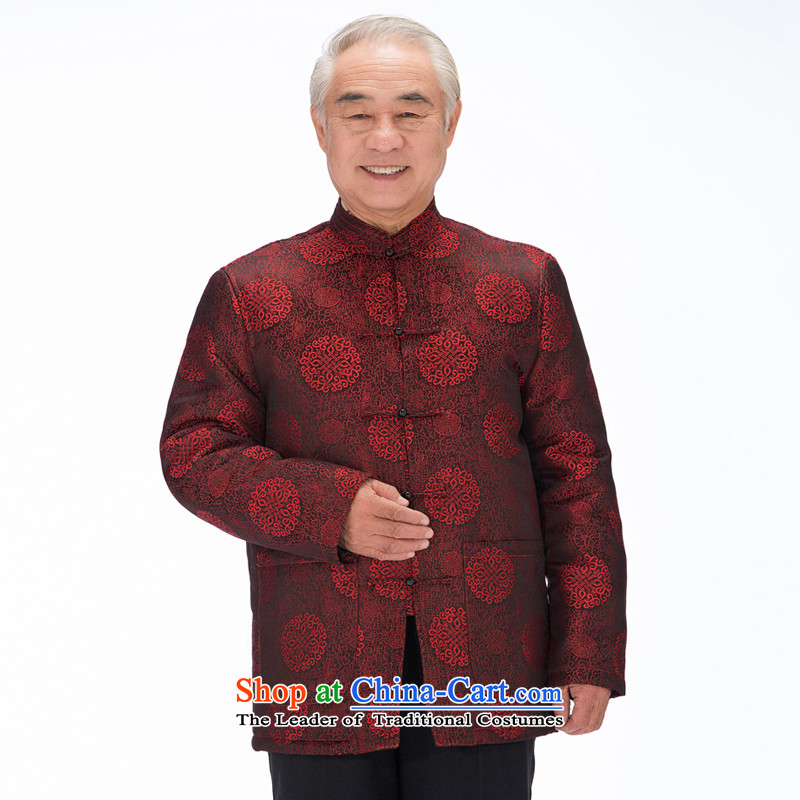 The original innovation line thre Bosnia and in Tang Dynasty replace older winter new cotton coat father replacing Tang clamp cotton shirt聽FD-14016 Espresso Wine red聽XXXL_190