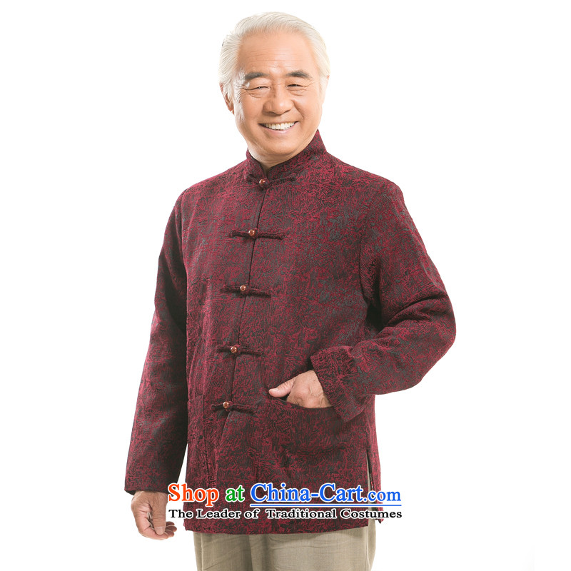 In older men long-sleeved jacket Tang national costumes Chinese collar Tang Dynasty to the dad grandpa new thick long-sleeved jacket F1369 TANG  L/175 wine red
