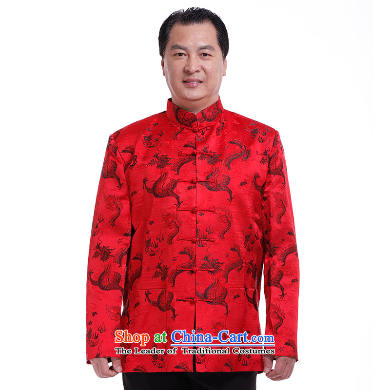 The South to men, Tang blouses jacket for autumn and winter clothing in the sheikhs older Men's Shirt Tang Dynasty Winter Jackets 6031 Chinese dragon spring and autumn red - number is too small. It is recommended that you select a number
