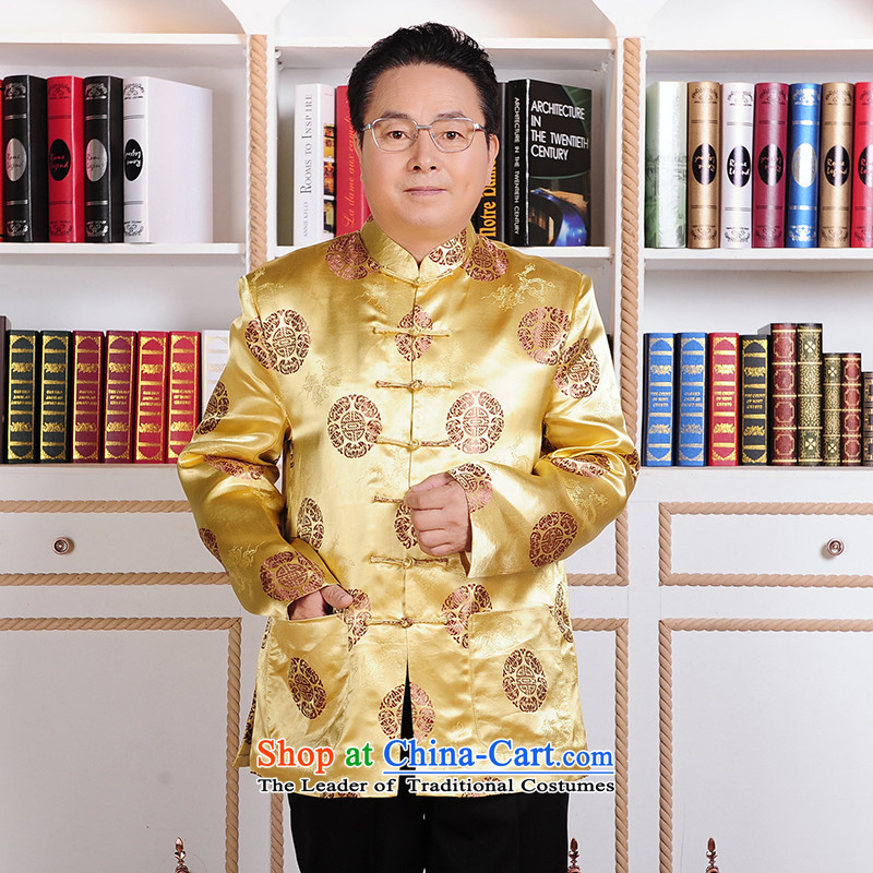 ?The elderly in the Tang dynasty gakka ?tòa male jacket Tang Dynasty Chinese men Fall_Winter Collections golden marriage feast birthday gift national costumes and contemptuous?XXXL Wong