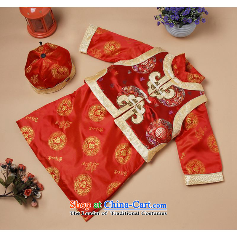 Ms Au King Mansion to Tang dynasty autumn and winter new child Tang dynasty robe boy plus cotton-style robes燲183-a Cheongsams Red燲XL