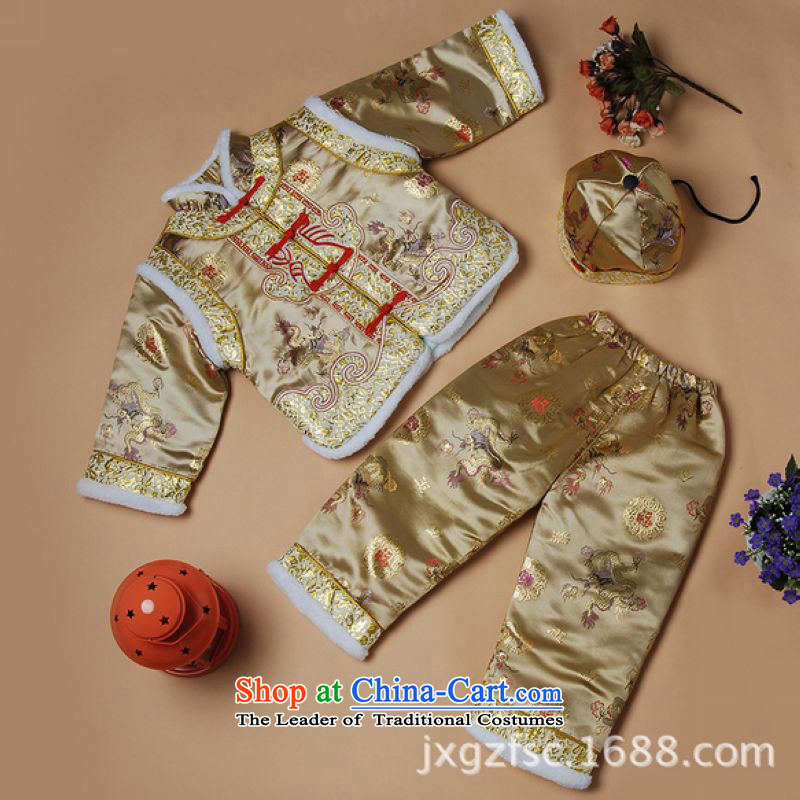 Ms Au King Mansion to Tang dynasty autumn and winter new child Tang dynasty robe boy children?X189-a robe golden?XXL