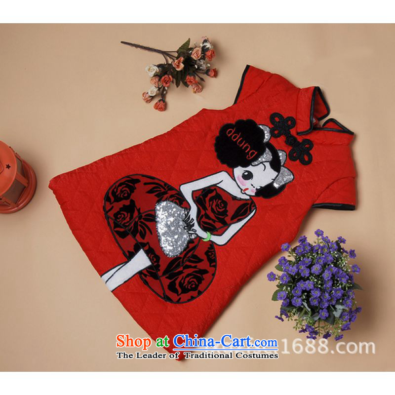 Ms Au King Mansion to autumn and winter cheongsam new child qipao robe girls children?X197 robe red?XXL