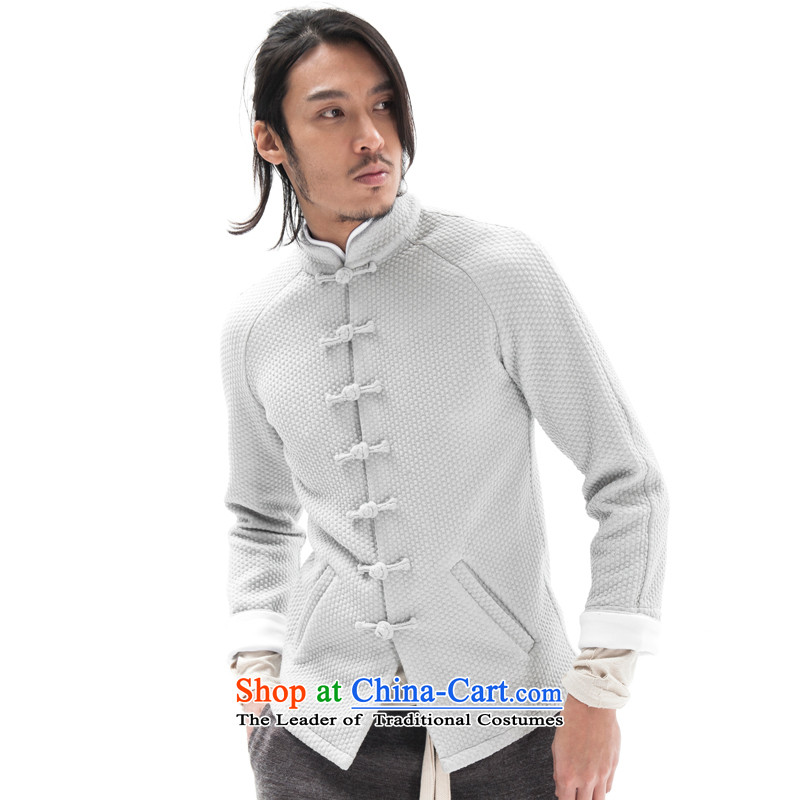 Seventy-tang China wind original woolen knitted jacket stylish Sau San Tong jackets Chinese improved plug-ins construction sleeved shirt national detained retro High End Disk men light gray XL