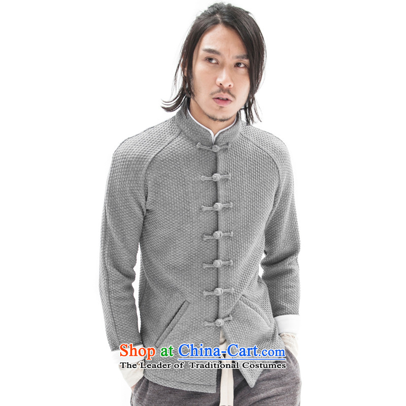 Seventy-tang China wind original woolen knitted jacket stylish Sau San Tong jackets Chinese improved plug-ins construction sleeved shirt national detained retro High End Disk men light gray聽XL, Tsat Tang (seventang design shopping on the Internet has been