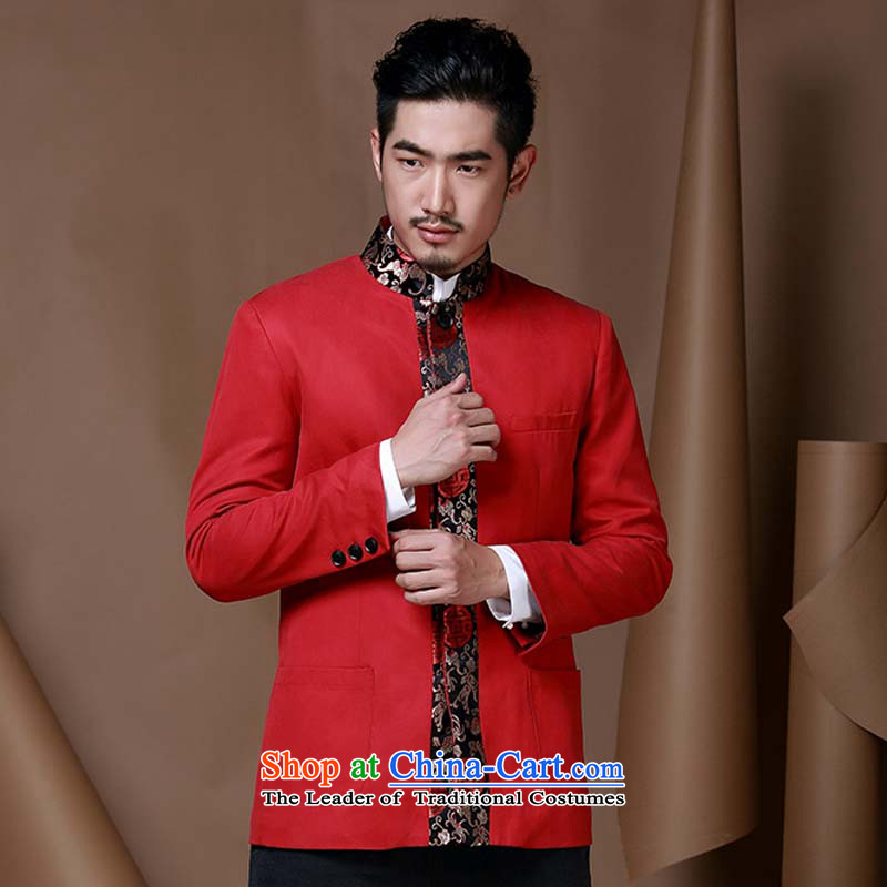 Jockeys Leopard Health China wind men Tang jackets of young men from the Chinese Han-T-shirt national costumes autumn and winter new dresses designer brands?XXXL red