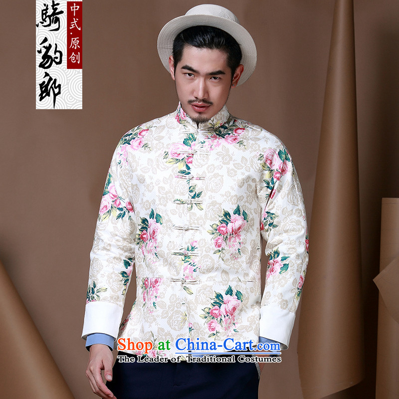 Jockeys Leopard Health Tang dynasty China wind men flowers to serve men's jackets on the autumn and winter Han-designer brands White XXL