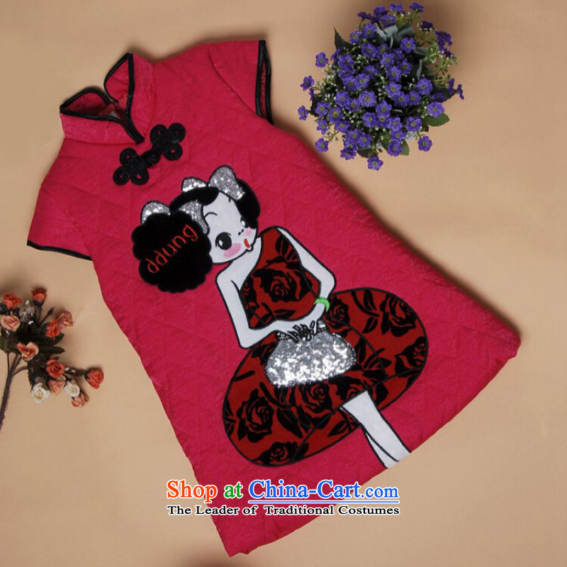 Shanghai, optimization options for autumn and winter cheongsam new child qipao robe girls children?in Red Robe X197-a?XXL