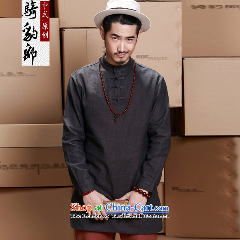 Jockeys Leopard Health Tang dynasty China Wind Jacket men's 2015 new cotton linen long T-shirts for larger improved Han-designer brands carbon?XL