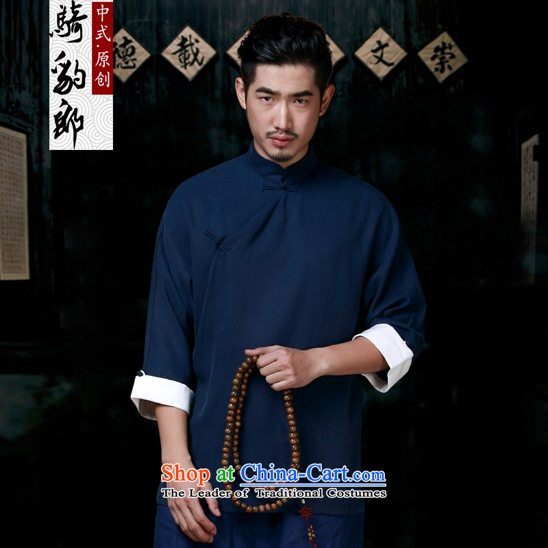 Jockeys Leopard Tang Dynasty who men robe improved Han-autumn and winter new Chinese need badges of cotton linen ball-Service Cheongsams Jacket China wind men designer brands dark blue聽XL